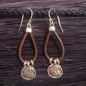 🌟SILPADA W2179 Sterling & Brown Leather Earrings